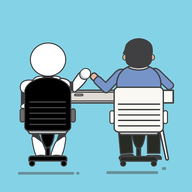Homem e robô trabalhando juntos