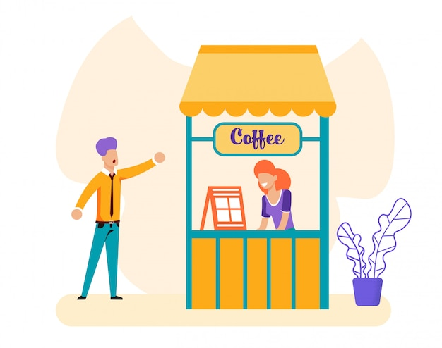 Homem e vendedora na caixa de café
