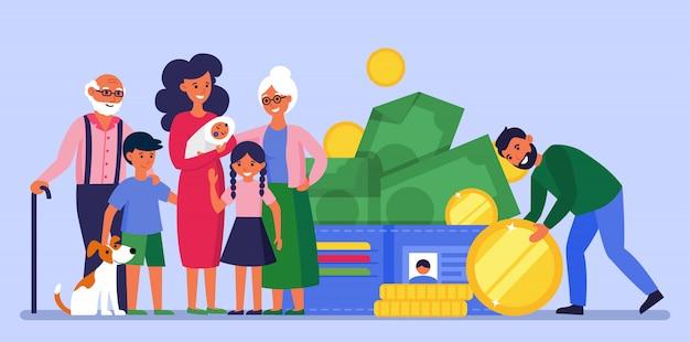 Homem economizando dinheiro para a família