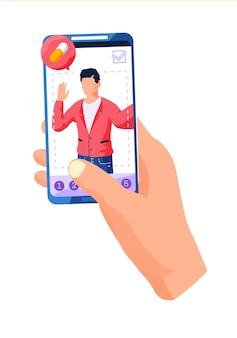 Homem editando foto usando ilustração de telefone celular
