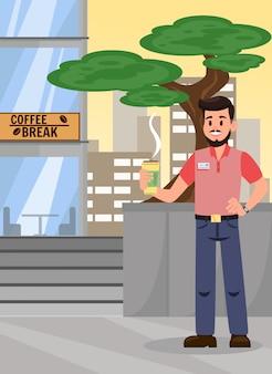 Homem, em, café, fratura, caricatura, vetorial, ilustração