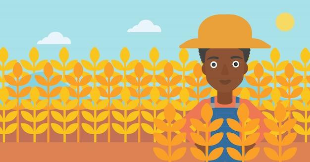 Homem, em, campo trigo