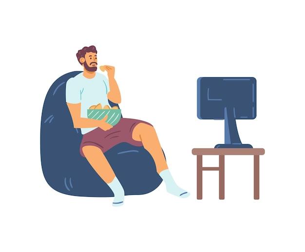 Homem em casa assistindo tv e fazendo lanches em casa. ilustração vetorial