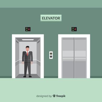 Homem, em, elevador