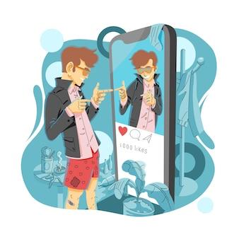 Homem em frente a um vidro em forma de telefone