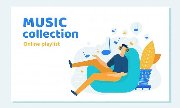 Homem, em, headset, sentando, em, poltrona, escuta música