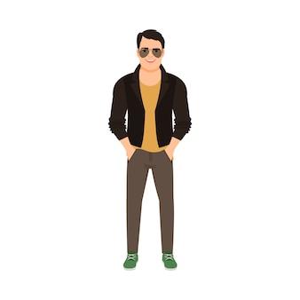 Homem, em, jaqueta couro