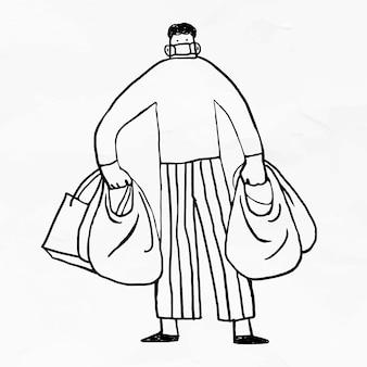 Homem em pânico acumulando comida durante o vetor de elemento doodle de pandemia de coronavírus