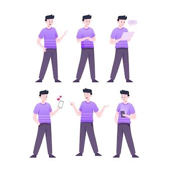 Homem em poses de personagem camisa violeta