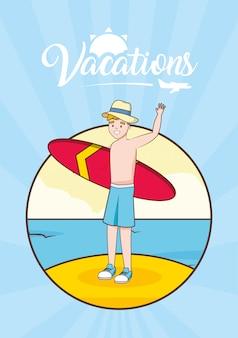 Homem, em, praia, férias