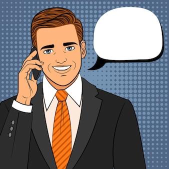 Homem em quadrinhos com telefone. rosto amigável de pop art retrô com ilustração de celular