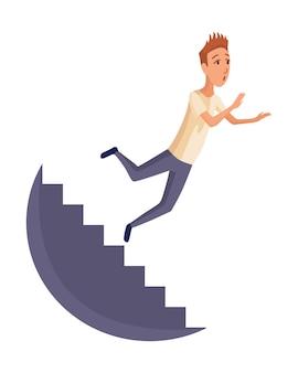 Homem em queda. pessoas caindo por queda de escada, acidente. acidente perigoso de jovens. perigo, risco. má sorte, infortúnio, fiasco. fracasso empresarial, conceito de acidente de empresa.