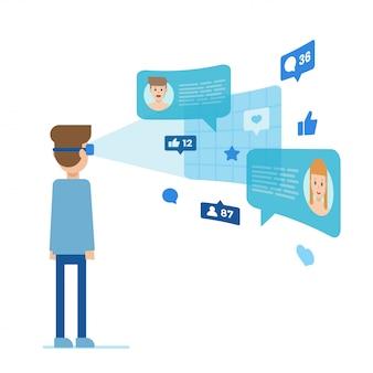 Homem, em, realidade virtual, conversa com pessoas