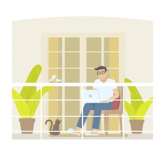 Homem em roupa casual, trabalhando em casa com o laptop na varanda em estilo cartoon plana