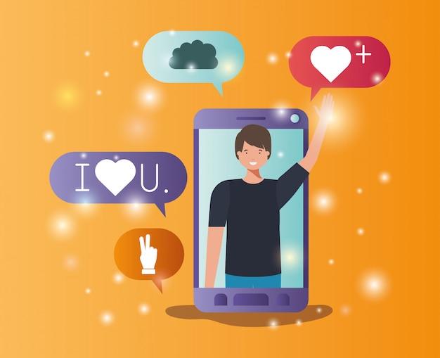 Homem em smartphone com bolhas de mídias sociais