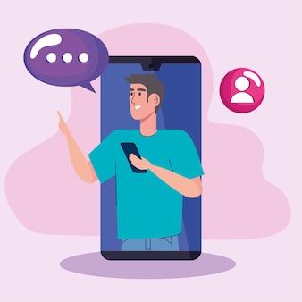 Homem em smartphone com ilustração de ícones de mídia social