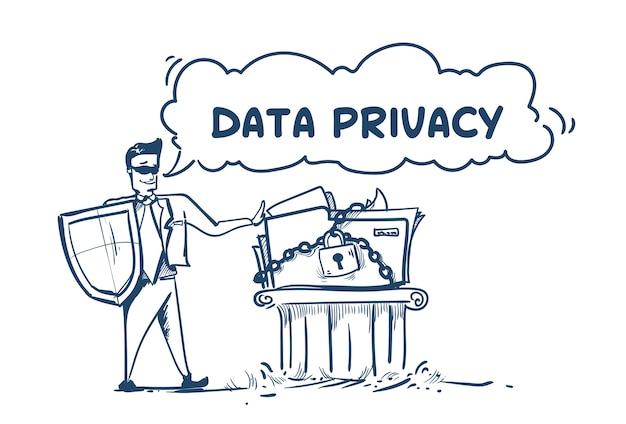 Homem em terno de negócios escudo segurança dados privacidade
