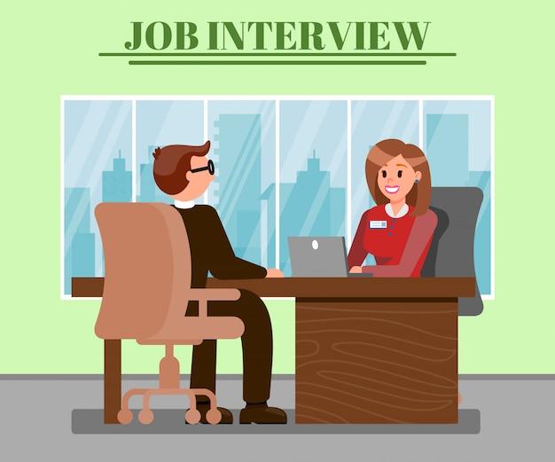 Homem, em, trabalho, entrevista, apartamento, vetorial, ilustração