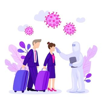 Homem em traje anti-risco verificando a temperatura dos passageiros do aeroporto e espalhando infecção por coronavírus