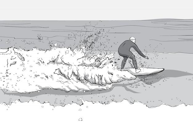 Homem em traje de mergulho, surfando em uma prancha de surf. ondas grandes. arte de linha