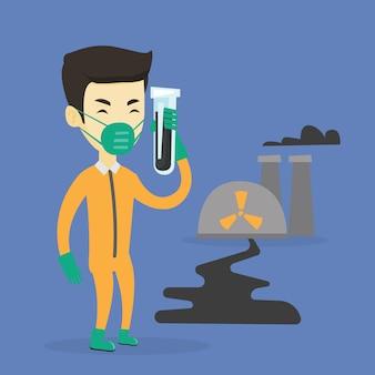 Homem em traje de proteção contra radiação com tubo de ensaio.