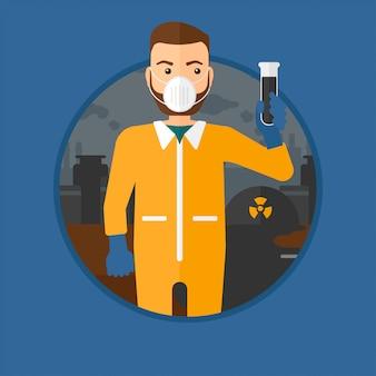 Homem em traje de proteção de radiação com tubo de ensaio.