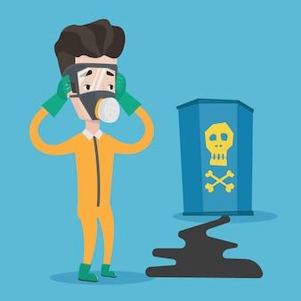 Homem em traje de proteção de radiação.