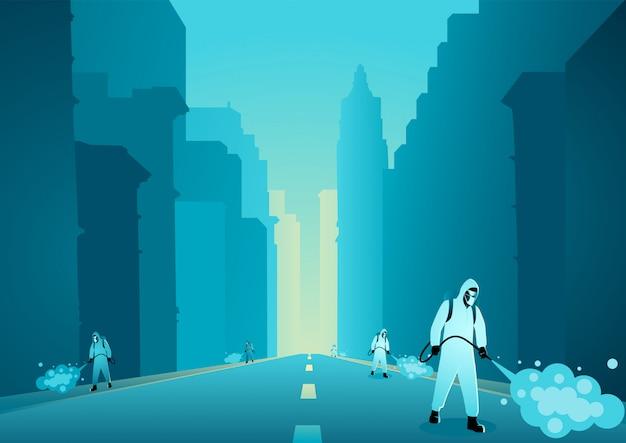 Homem em traje de proteção desinfetante de pulverização na cidade vazia