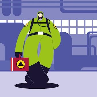 Homem em traje de proteção, indústria química