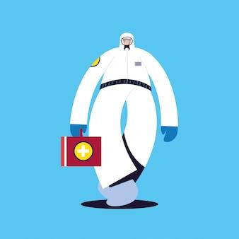 Homem em traje de proteção, roupas de segurança