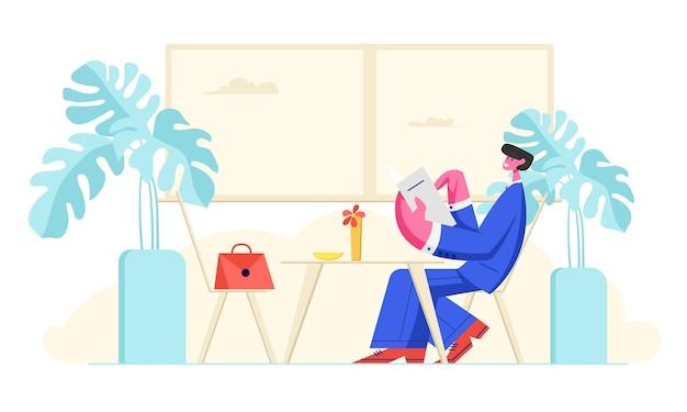 Homem em traje formal sentado no café com o cardápio nas mãos, fazendo pedidos