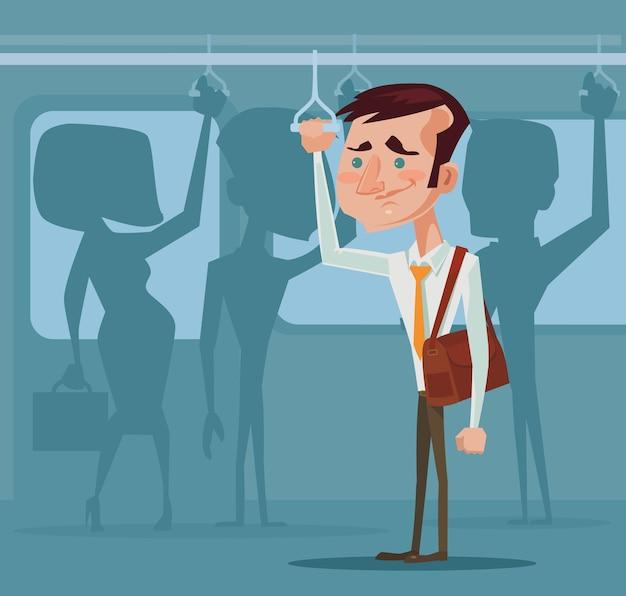 Homem em transporte público
