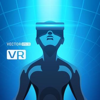 Homem em um capacete de realidade virtual. os machos futuristas figuram em um fone de ouvido contra o fundo abstrato azul