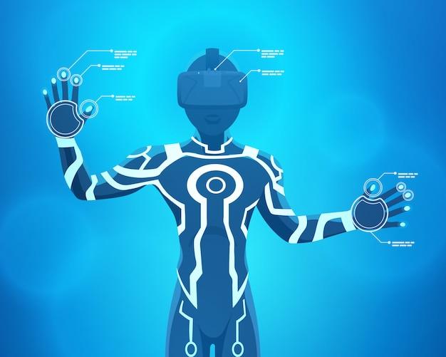 Homem em um capacete de realidade virtual