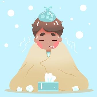 Homem em um cobertor, tendo um resfriado