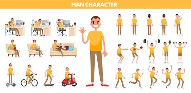 Homem em um conjunto de roupas casuais. coleção de personagem