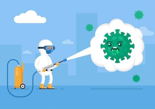 Homem em um terno de proteção hazmat pulverização de pesticidas, ilustração plana.