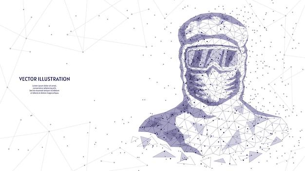 Homem em um traje de proteção, em uma máscara médica, óculos de proteção. médico assistente, médico está protegido contra infecções pelo vírus covid-19, proteção química, infecção, biossegurança.