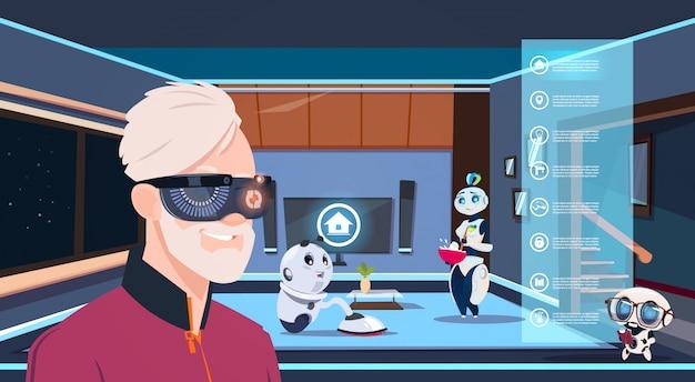 Homem, em, vr, óculos, olhar, grupo, de, robôs, housekeepers, limpeza, vivendo quarto