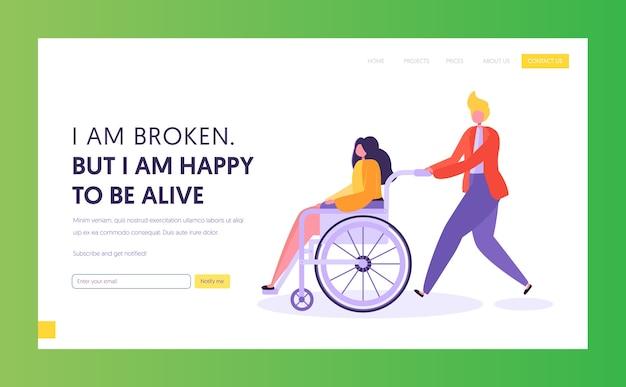 Homem empurrando a jovem com deficiência sentada na cadeira de rodas. modelo de página de destino