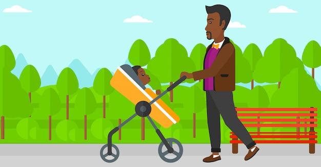 Homem empurrando carrinho de bebê.