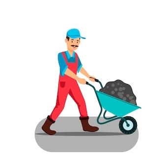 Homem, empurrando, cheio, carrinho de mão, vetorial, ilustração