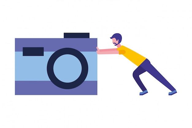 Homem, empurrar, câmera fotografia, dispositivo