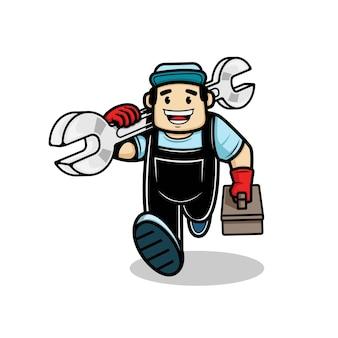 Homem encanador correndo e carregando uma chave inglesa e uma caixa com equipamentos na mão. ilustração vetorial