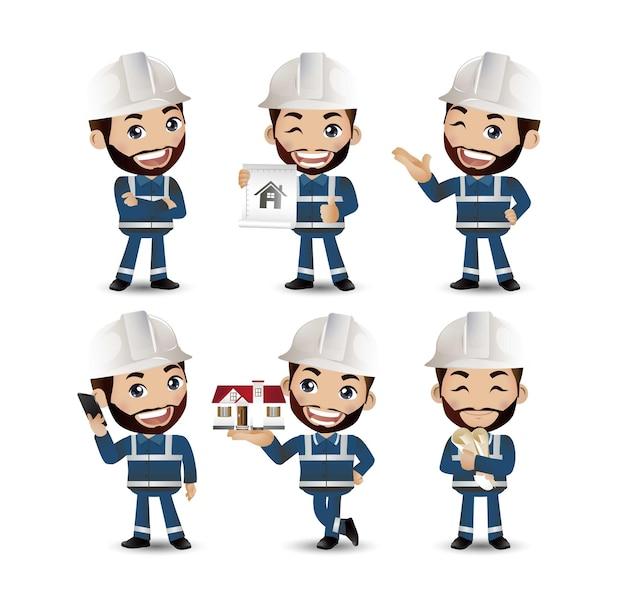 Homem engenheiro com diferentes poses
