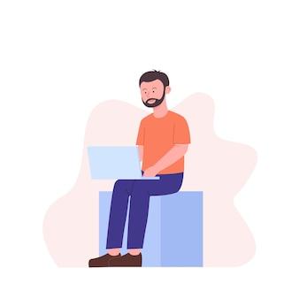 Homem enquanto trabalhava com laptop em design plano
