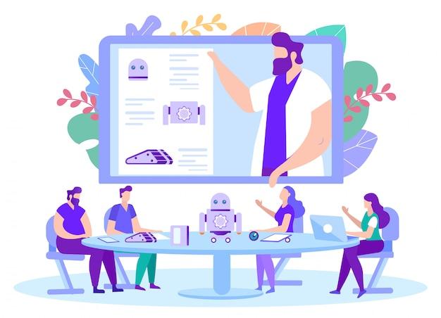 Homem ensina lição em robótica on-line. vetor.
