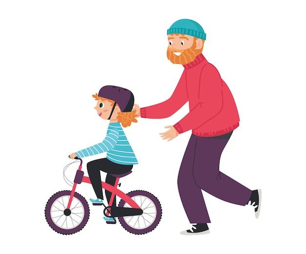 Homem ensinando criança andar de bicicleta ilustração vetorial plana isolada no branco