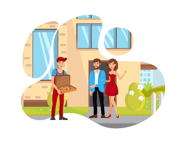 Homem, entregar, alimento, apartamento, isolado, ilustração