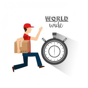 Homem, entregar uma caixa, ligado, tempo